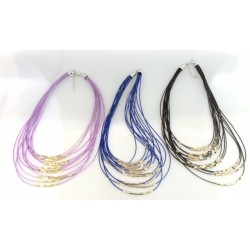 Collier Multi rangs Tube Deux Tons