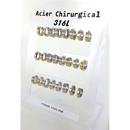 B.O. créoles acier coloris bi-colore