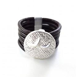 Bague Cuir motif métal brossé