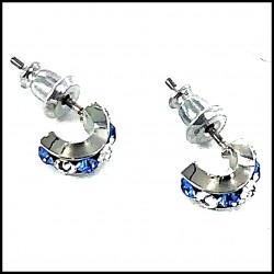 B.O Italie Design Créoles Simple PM Strass Bleue