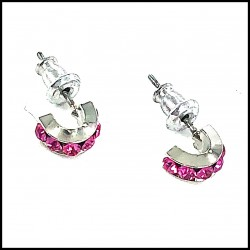 B.O Italie Design Créoles Simple PM Strass Fuchsia
