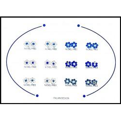 B.O Italie Design Fleur PM Strass Bleu