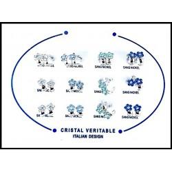 B.O Italie Design Creole Fleur PM Strass Bleu