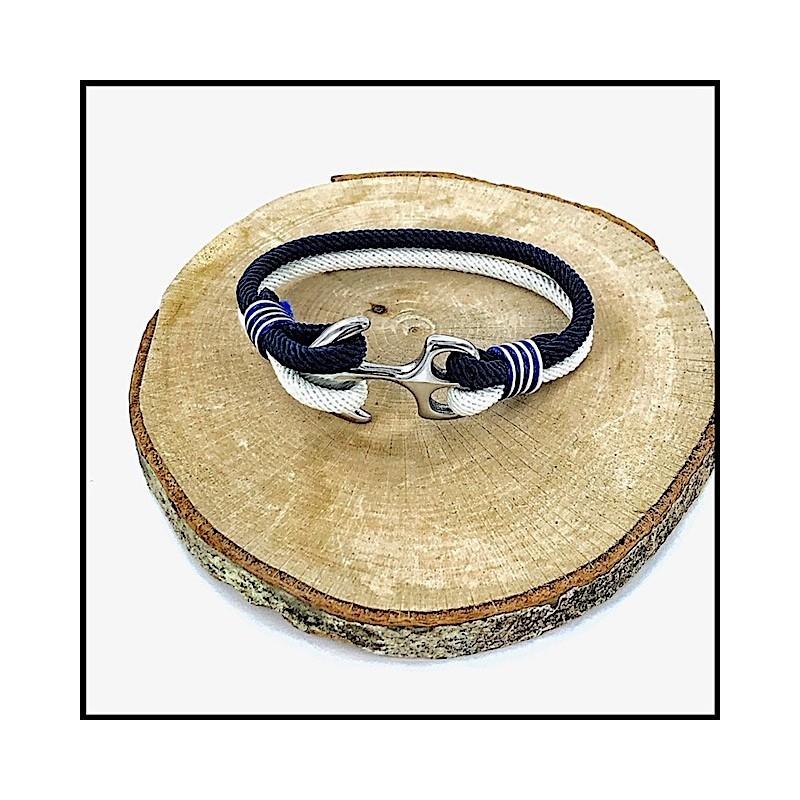 Bracelet Acier Ancre Corde Milanaise 2 Tons GM